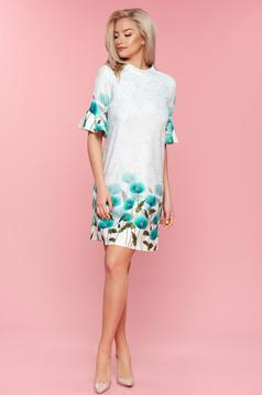 PrettyGirl mint flared bell sleeves dress with floral print
