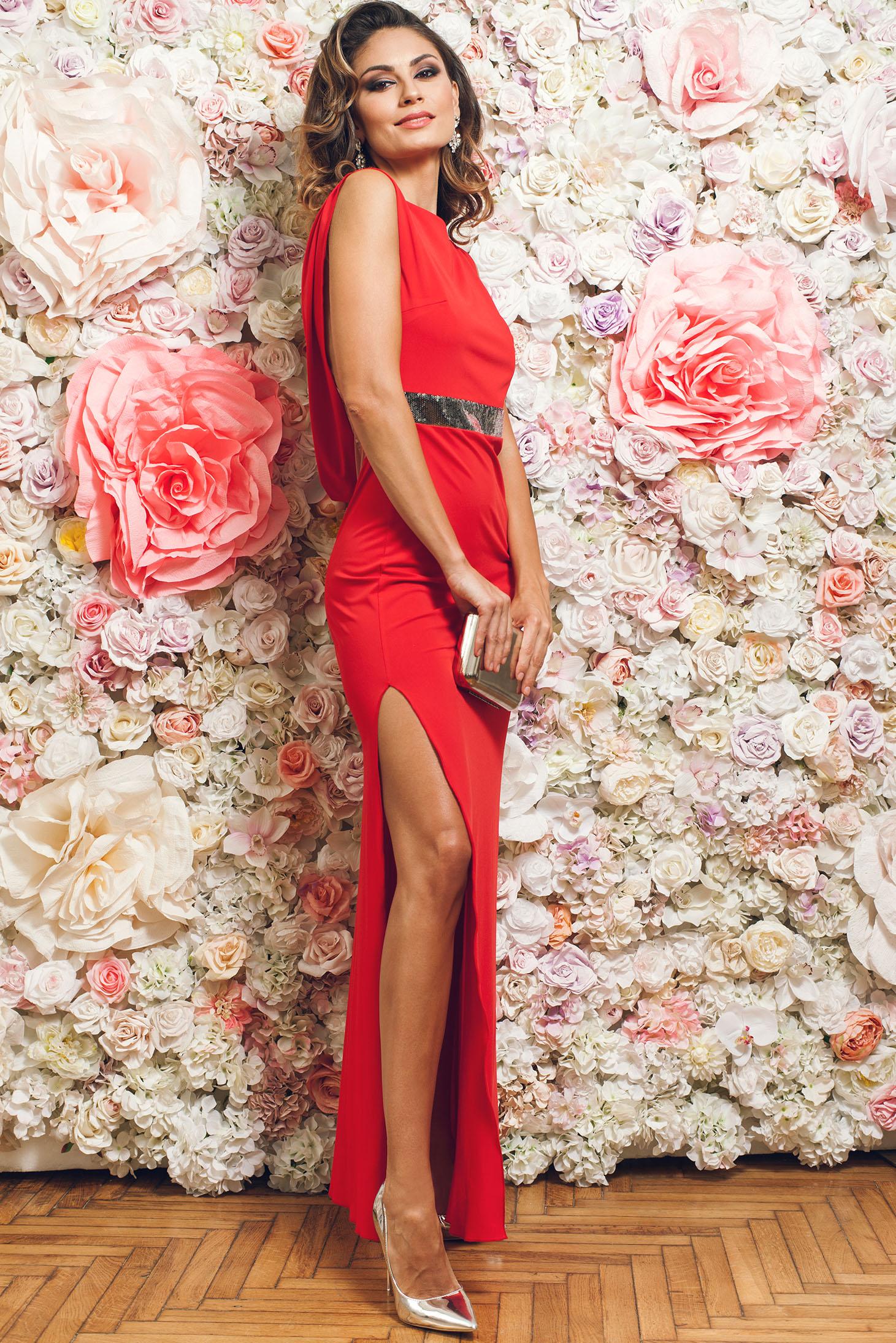 Piros PrettyGirl hosszú ujjatlan alkalmi ruha 6370b408ec