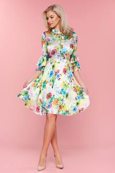 PrettyGirl white bell sleeves dress with satin fabric texture