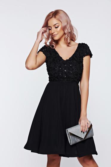 StarShinerS black short sleeve occasional dress S-027660 cloche