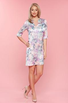 PrettyGirl lila dress with satin fabric texture 3/4 sleeves