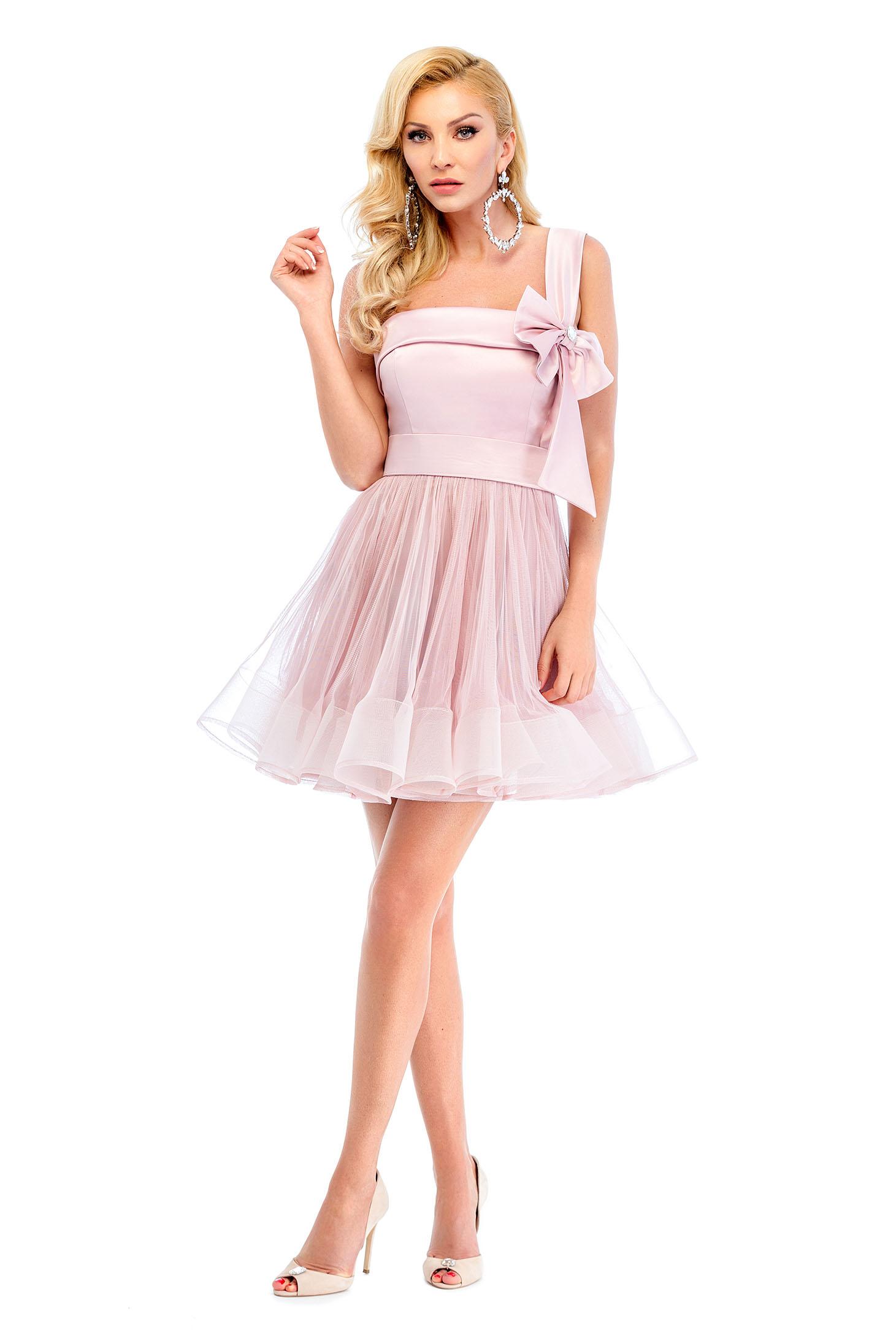 Ana Radu rosa net dress with satin fabric texture