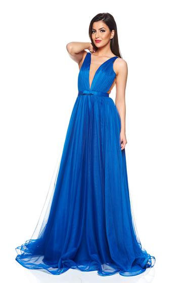 Ana Radu occasional net blue dress with v-neckline and bow accessory