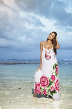 Cosita Linda white beach wear airy fabric dress with braces and easy cut