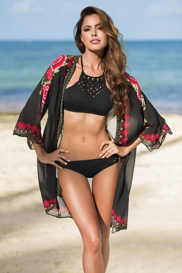 Cosita Linda black beach wear dress with floral prints and easy cut