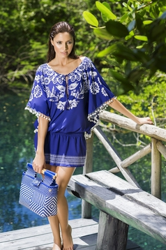 Cosita Linda blue dress beach wear airy fabric with tassels