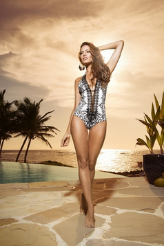 Cosita Linda white altogether swimsuit with cut-out bust design and print details