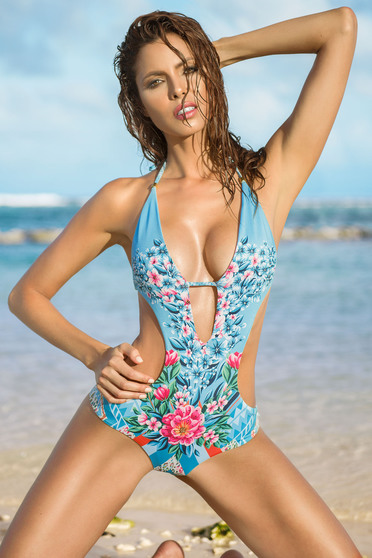 Cosita Linda blue altogether swimsuit with floral prints and bare back