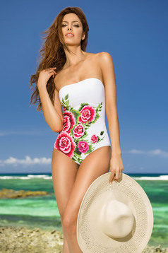 Cosita Linda white altogether swimsuit with floral prints