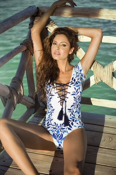 Cosita Linda white altogether laced details swimsuit with print details