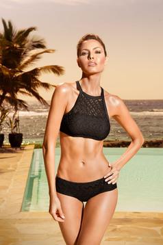 Cosita Linda black bustier bra swimsuit with normal bikinis