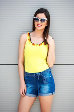 PrettyGirl casual tented yellow top shirt with tassels