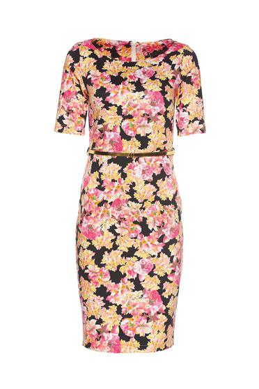 PrettyGirl lightpink pencil dress accessorized with belt with floral prints