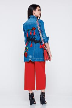 Ocassion blue denim embroidered jacket