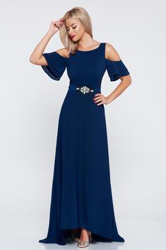 StarShinerS darkblue voile fabric occasional dress with both shoulders cut out