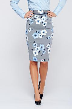 Fofy midi cotton blue skirt with floral print