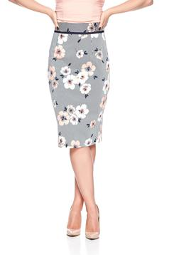 Fofy midi cotton peach skirt with floral print
