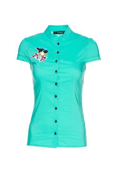 Fofy mint short sleeve women`s shirt embroidery details