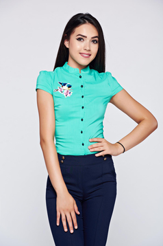 Fofy mint short sleeve women`s shirt embroidery details