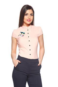 Fofy peach short sleeve women`s shirt embroidery details