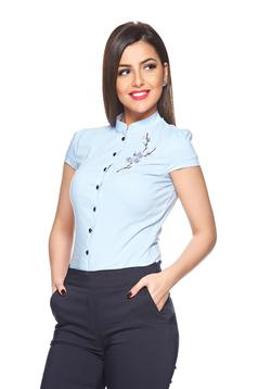 Fofy lightblue short sleeve women`s shirt with embroidery details