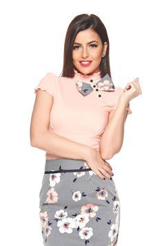 Fofy peach short sleeve women`s shirt bow shaped accessory