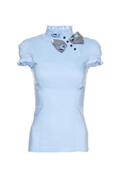 Fofy lightblue short sleeve women`s shirt bow shaped accessory