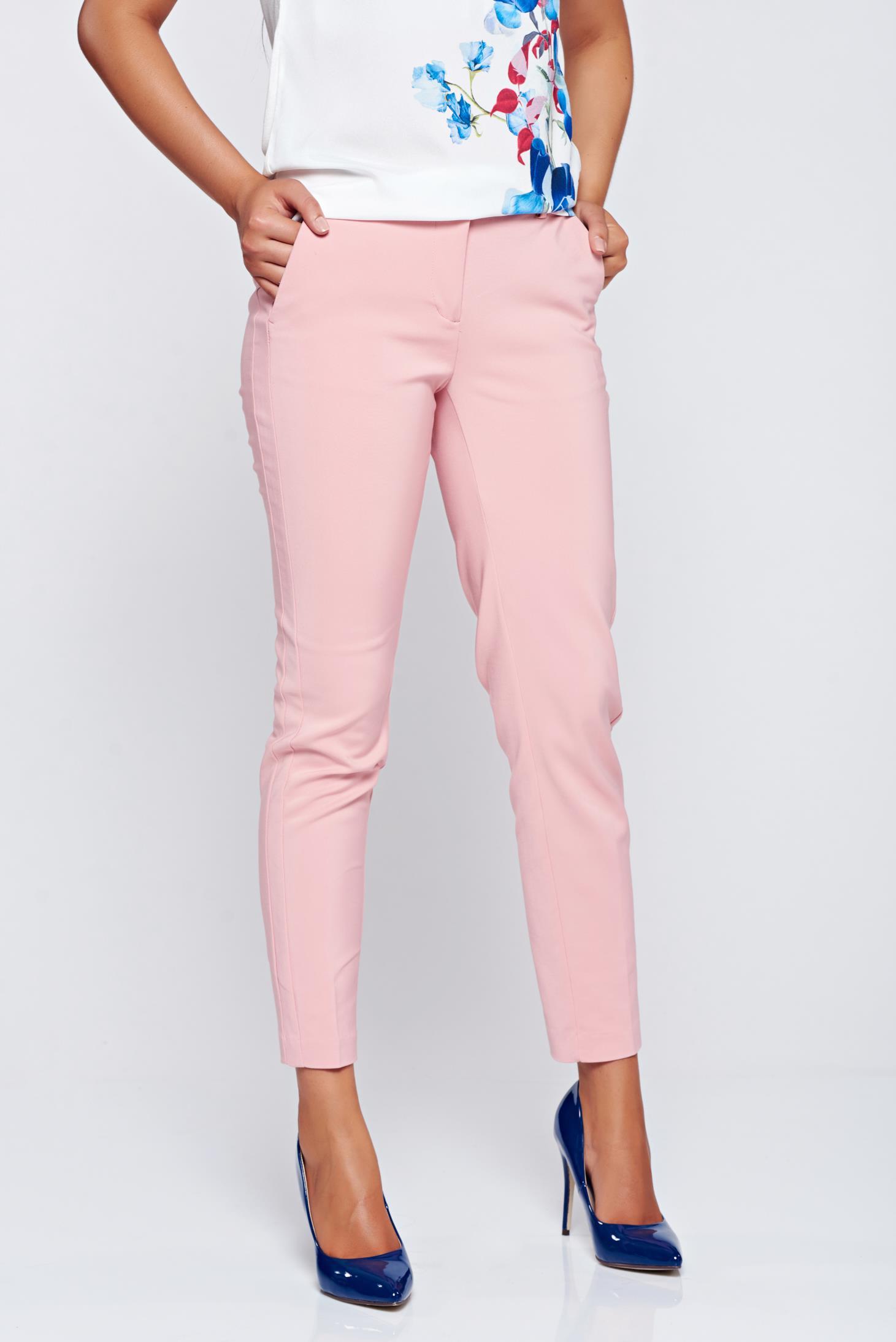 Pantaloni Top Secret piersica conici cu talie medie cu buzunare