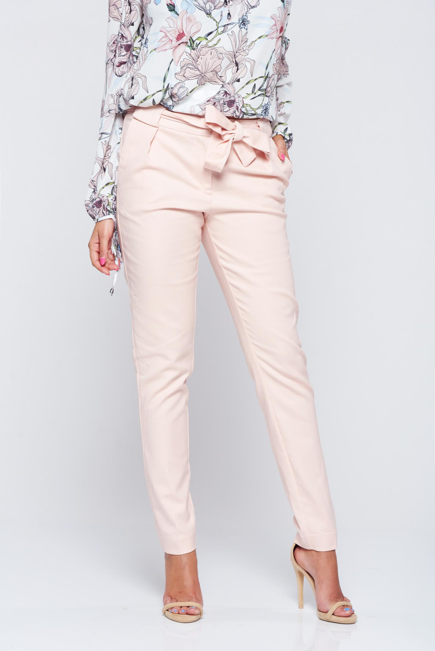 Pantaloni Top Secret rosa office cu talie medie cu buzunare