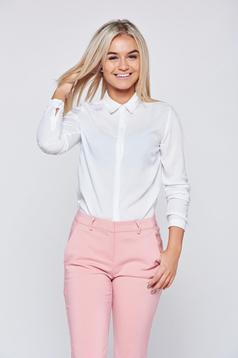 Top Secret white office women`s shirt with a collar