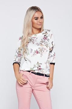 Top Secret white elegant flared women`s blouse with floral print