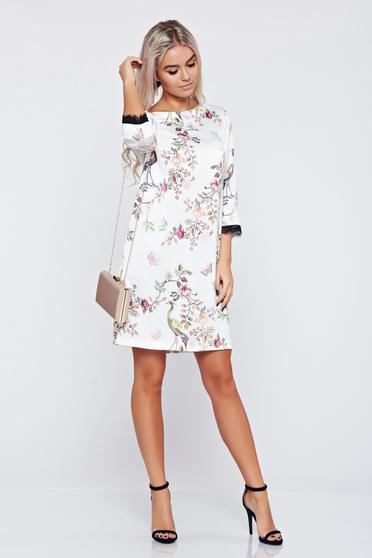 Top Secret white elegant flared dress with 3/4 sleeve