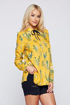 Top Secret yellow flared women`s shirt with long sleeve