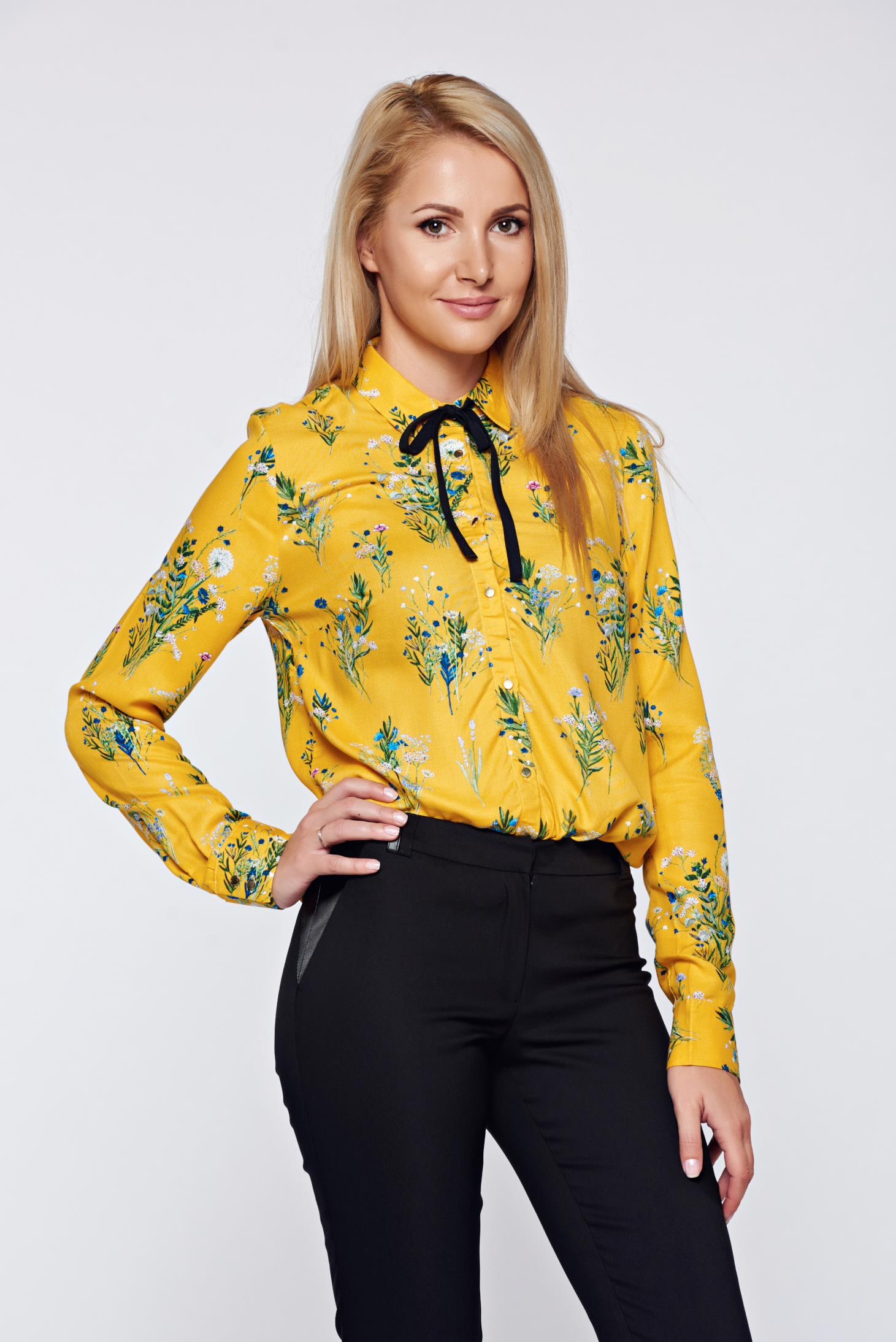 Top secret yellow flared women s shirt with long sleeve for Womens yellow long sleeve shirt