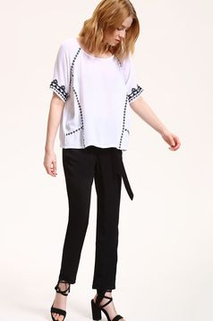 Top Secret white short sleeve embroidered women`s blouse from airy fabric