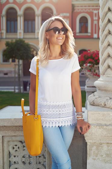 Top Secret white casual short sleeve women`s blouse