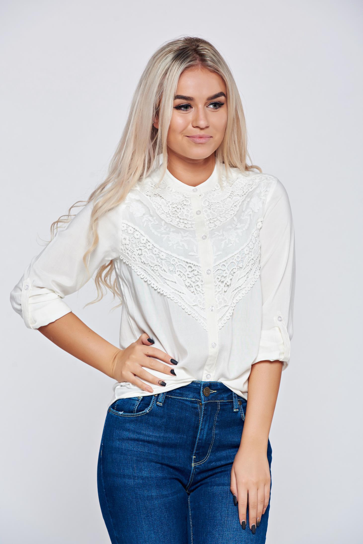 79861841c5 Fehér Top Secret hímzett bő szabású női ing