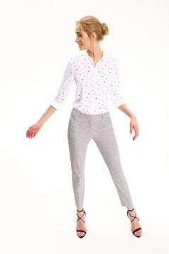 Top Secret easy cut white women`s shirt with dots print and pointed collar