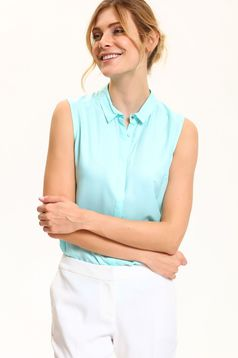 Top Secret turquoise airy fabric sleeveless women`s shirt with pointed collar