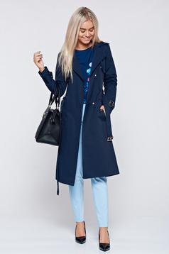Top Secret darkblue trenchcoat basic cotton long sleeve