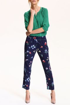 Top Secret darkblue trousers with pockets and floral prints