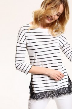 Top Secret white women`s blouse with stripes and lace details