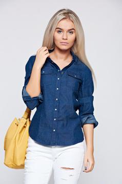 Top Secret darkblue denim women`s shirt with long sleeve