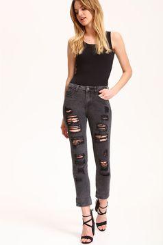 Top Secret casual darkgrey denim trousers with ruptures