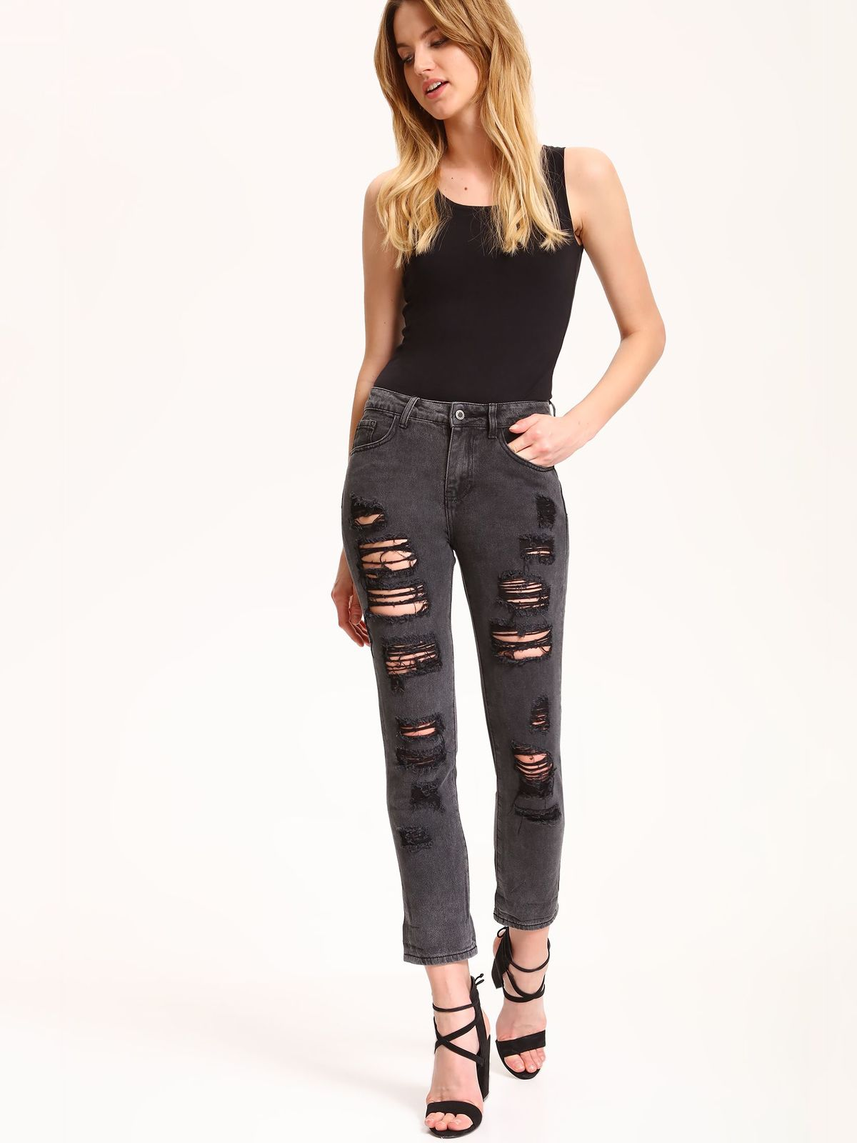 Pantaloni casual din denim Top Secret gri inchis cu rupturi
