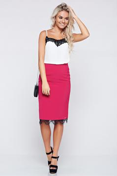 Top Secret darkpink elegant skirt with medium waist