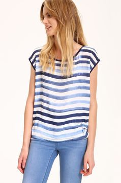 Top Secret white short sleeve easy cut t-shirt with stripes