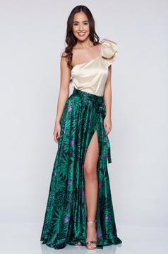 PrettyGirl green elegant long skirt with satin fabric texture