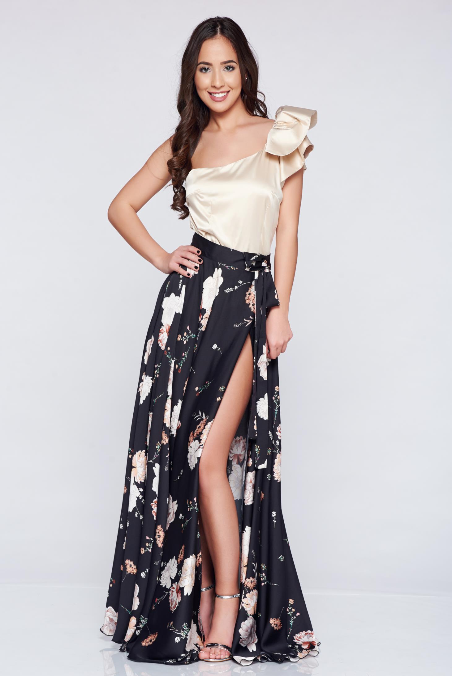 Fekete PrettyGirl elegáns hosszú szoknya szatén anyagból 020b000a78