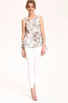 Cream Top Secret sleeveless airy fabric women`s blouse with ribbon fastening